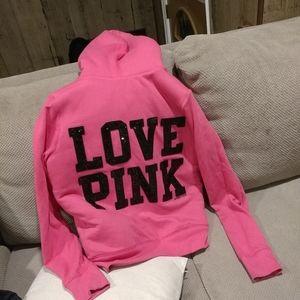 Euc pink Victoria's secret faux fur hoodie jacket